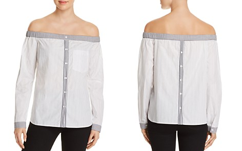 Bailey 44 Woman Off-the-shoulder Striped Cotton-blend Poplin Top Light Blue Size 8 Bailey 44 Sale Online Store Sale Footlocker Discount Big Sale Discount Hot Sale dfuqEOdI