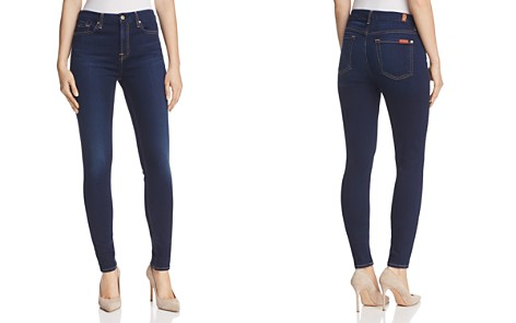 7 For All Mankind Woman Faded Mid-rise Straight-leg Jeans Dark Denim Size 25 7 For All Mankind Koy16O