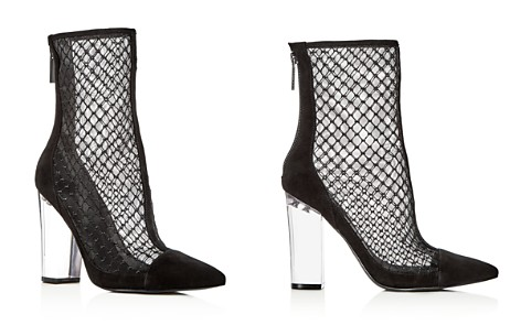 Kendall And Kylie Women's Haven Embroidered Mesh & Suede High Block Heel Booties - 100% Exclusive 6ZgGb94f
