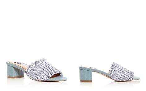 JAGGAR Women's Smocked Stripe & Denim Block Heel Slide Sandals vMvi0YV0