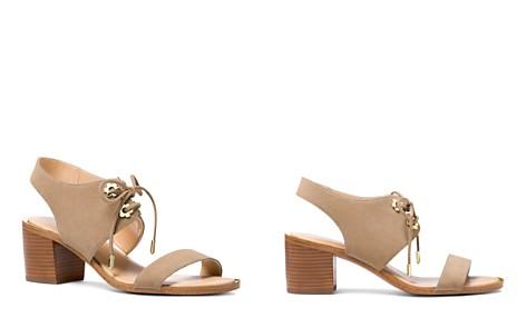 lc4pfaLl88 Womens Estela Suede Ankle Tie Block Heel Sandals