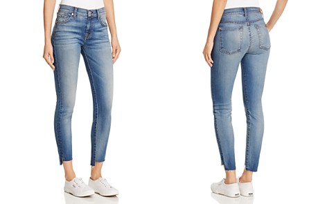 7 For All Mankind Woman Distressed Mid-rise Slim-leg Jeans Mid Denim Size 27 7 For All Mankind h6jr9uZQZ