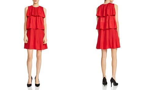 Maje Woman Tiered Ruffled Jacquard Mini Dress Red Size 1 Maje vV39BD