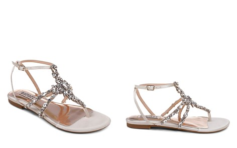 Badgley Mischka Women's Hampden Embellished Satin Thong Sandals 5Pu1qWpp
