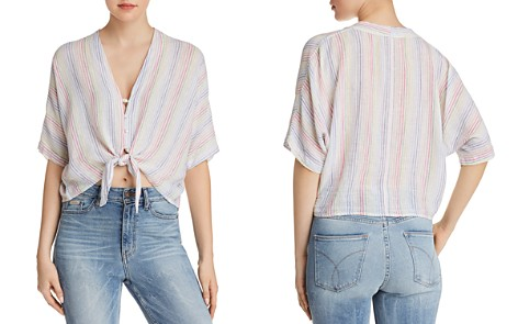 V-Neck Tie-Front Sleeveless Cotton Top Frame Denim Cheap Genuine VrcJrqM3