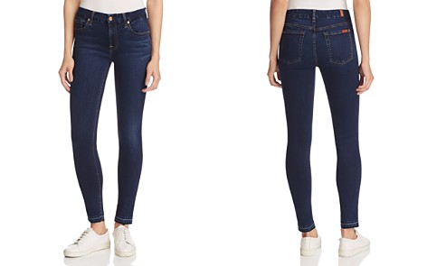 7 For All Mankind Woman The Skinny Low-rise Slim-leg Jeans Dark Denim Size 24 7 For All Mankind f0AEqR