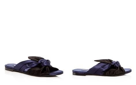 Oscar de la Renta Women's Piper Knotted Satin Slide Sandals tncjE