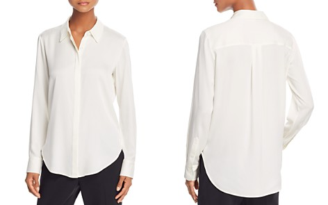 Theory Silk Long Sleeve Button-Up Top Outlet Fast Delivery Discount Exclusive Cheap Really sSU1V