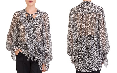 The Kooples Leopard-Print Tie-Neck Blouse - Bloomingdale's_2