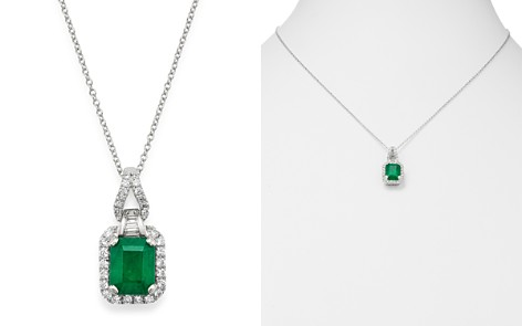 "Bloomingdale's Emerald & Diamond Pendant Necklace in 14K White Gold, 18"" - 100% Exclusive_2"