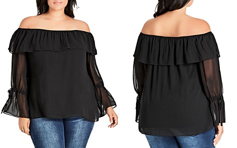 City Chic Plus Floraline OfF-the-Shoulder Top - Bloomingdale's_2