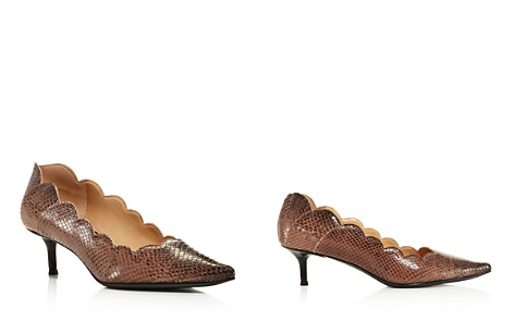 Chloé Women's Lauren Pointed Toe Snakeskin-Embossed Leather Kitten-Heel Pumps - Bloomingdale's_2
