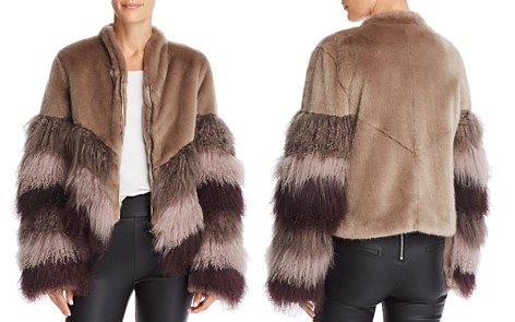 Urbancode Color-Blocked Fur Coat - Bloomingdale's_2