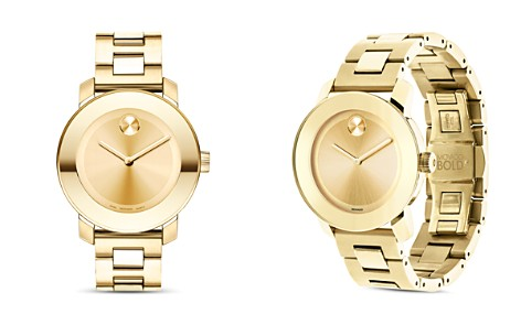 Movado BOLD Medium Yellow Gold Plated Stainless Steel Watch, 36mm - Bloomingdale's_2