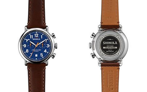 Shinola The Runwell Dark Brown Leather Strap Chronograph Watch, 41mm - Bloomingdale's_2
