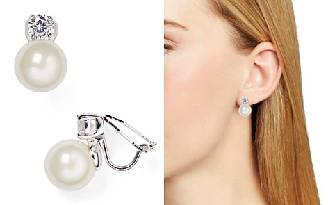 Lauren Ralph Faux Pearl Clip On Earrings Bloomingdale S 2