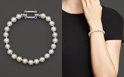 Cultured Freshwater Pearl Bracelet in 14K White Gold with Diamonds, 6.5mm - 100% Exclusive - Bloomingdale's_2