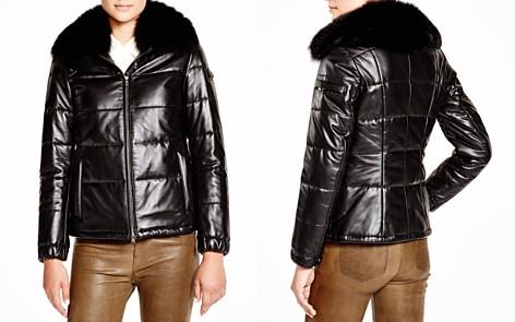 Maximilian Leather Coat with Saga Fox Collar - Bloomingdale's_2