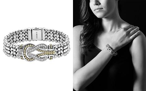 LAGOS Sterling Silver and 18K Gold Newport Diamond Caviar Bracelet - Bloomingdale's_2