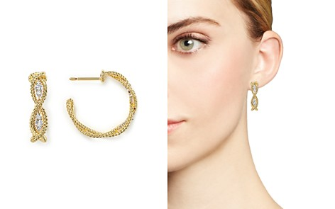 Roberto Coin 18K Yellow Gold New Barocco Braided Hoop Earrings with Diamonds - Bloomingdale's_2