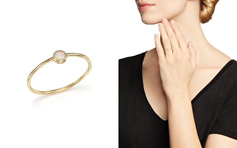 Zoë Chicco 14K Gold Thin Ring with a Bezel Set Round Opal - Bloomingdale's_2