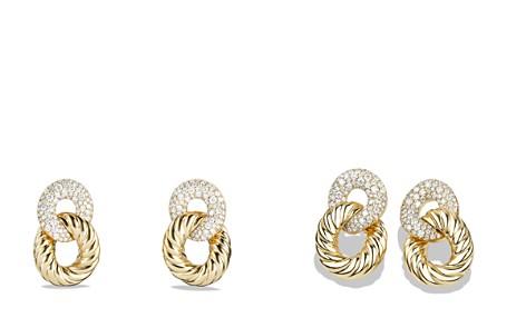 David Yurman Belmont Curb Link Ring Drop Earrings with Diamonds in 18K Gold - Bloomingdale's_2