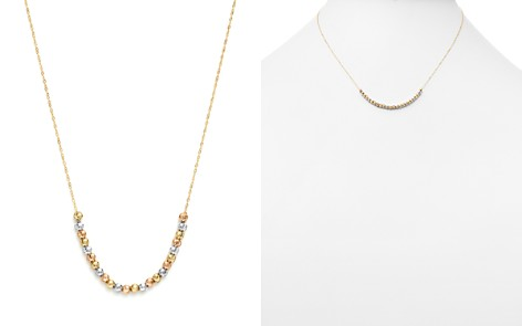 "14K Yellow, White and Rose Gold Half Beaded Chain Necklace, 17"" - 100% Exclusive - Bloomingdale's_2"