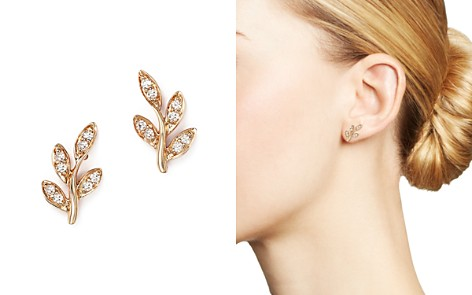 Diamond Leaf Stud Earrings in 14K Rose Gold, .10 ct. t.w. - Bloomingdale's_2