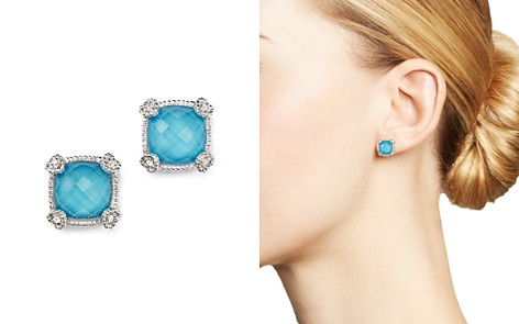 Judith Ripka Cushion Stud Earrings with White Sapphire and Turquoise Doublets - Bloomingdale's_2