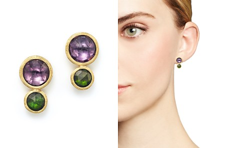 Marco Bicego 18K Yellow Gold Jaipur Two Stone Earrings with Amethyst and Green Tourmaline - Bloomingdale's_2
