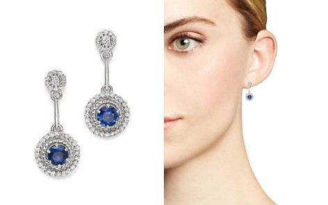 Blue Sapphire and Diamond Drop Earrings in 14K White Gold - 100% Exclusive - Bloomingdale's_2