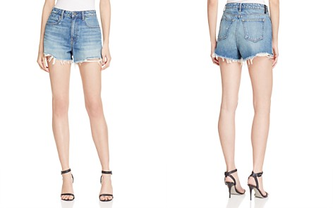 T by Alexander Wang Bite High Rise Frayed Shorts in Light Indigo Aged - Bloomingdale's_2