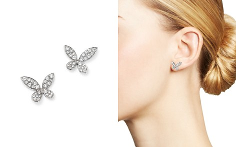 Diamond Pavé Butterfly Stud Earrings in 14K White Gold, .50 ct. t.w. - Bloomingdale's_2