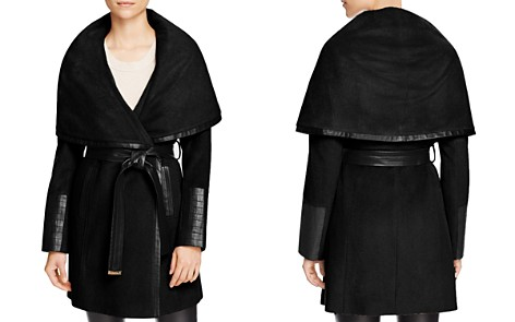 Via Spiga Belted Faux Leather Trim Coat - Bloomingdale's_2