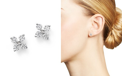 Diamond Small Clover Studs in 14K White Gold, .35 ct. t.w. - Bloomingdale's_2