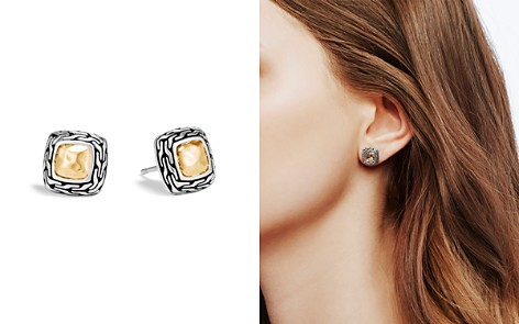 John Hardy Hammered 18K Yellow Gold and Sterling Silver Classic Chain Stud Earrings - Bloomingdale's_2