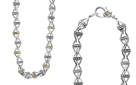 "LAGOS 18K Gold and Sterling Silver Pyramid Link Necklace, 18"" - Bloomingdale's_2"