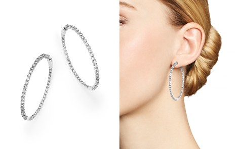 Diamond Inside Out Hoop Earrings in 14K White Gold, 7.0 ct. t.w. - 100% Exclusive - Bloomingdale's_2
