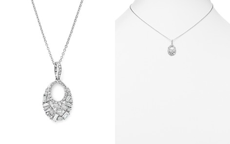 KC Designs Diamond Round and Baguette Pendant Necklace in 14K White Gold, .50 ct. t.w. - Bloomingdale's_2