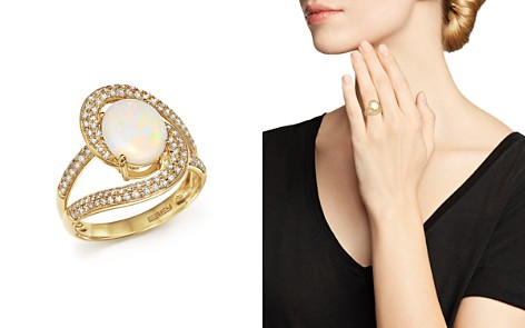Oval Opal and Pavé Diamond Ring in 14K Yellow Gold - Bloomingdale's_2