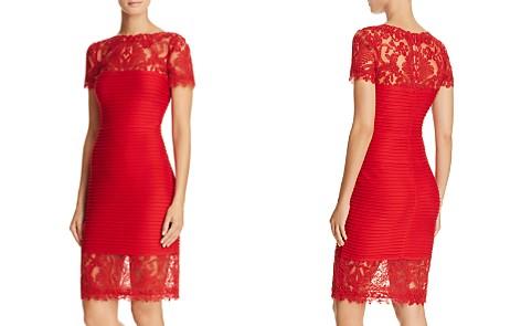 Tadashi Shoji Petites Illusion Lace Pintucked Dress - Bloomingdale's_2