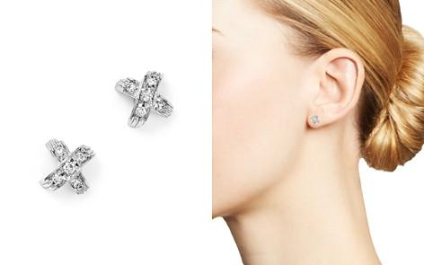 Roberto Coin 18K White Gold X Pavé Diamond Stud Earrings - Bloomingdale's_2