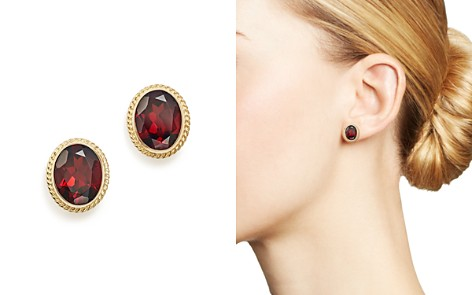 Garnet Oval Large Bezel Stud Earrings in 14K Yellow Gold - 100% Exclusive - Bloomingdale's_2