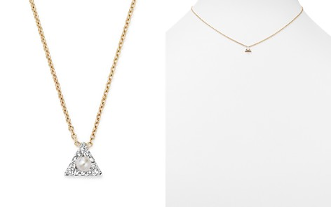 "MATEO 14K Yellow Gold Mini Diamond Triangle Necklace with Cultured Freshwater Pearl, 16"" - Bloomingdale's_2"