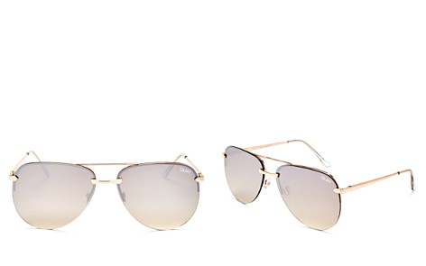 Quay The Playa Mirrored Brow Bar Aviator Sunglasses, 62mm - Bloomingdale's_2