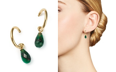 Bloomingdale S Emerald Briolette Hoop Drop Earrings In 14k Yellow Gold 100 Exclusive 2