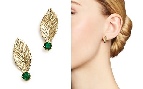Emerald Leaf Earrings in 14K Yellow Gold - 100% Exclusive - Bloomingdale's_2