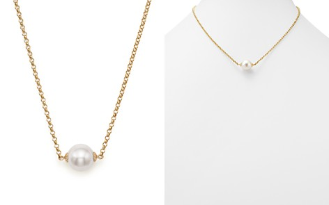 Fine pearl jewelry pearl earrings pearl necklaces bloomingdales cultured south sea pearl pendant rolo chain necklace in 14k yellow gold 18 aloadofball Gallery