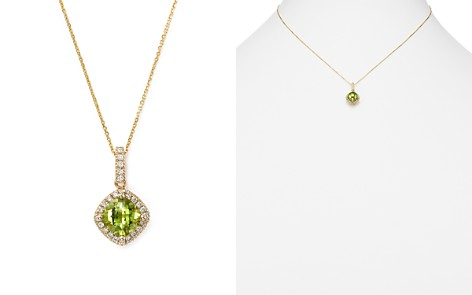 """Peridot Cushion Cut and Diamond Pendant Necklace in 14K Yellow Gold, 16"""" - 100% Exclusive - Bloomingdale's_2"""