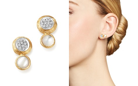 Marco Bicego 18K White and Yellow Gold Jaipur Climber Stud Earrings with Mother-Of-Pearl and Diamonds - Bloomingdale's_2